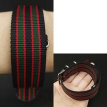 22mm X 255mm Nato Canvas Nylon wrist watch Band strap GREEN RED BLACK EII - $15.52