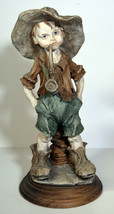 "9"" Vintage Capodimonte Porcelain Statue Cute Boy Smoking Pipe Gulliver's... - $56.99"