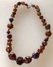 Necklace Shimmery Iridescent Brown Rust Glass Beads - $18.96