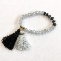 Gray Tassel Bracelet, Faceted Bead Bracelet, Beaded Bracelets Free Shipping