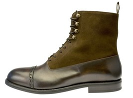 Green Brown Two Tone High Ankle Superior Suede Leather Men Party Wear Boots - $149.90+