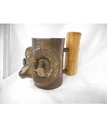 Carl Wagner Mountain Bighorn Bronze Mug Cup with Wood Handle #155 of 1000 - $292.05
