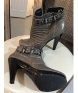 7 for ALL MANKIND Parker Ankle Boots Booties Gray Buckles 8M - $46.74