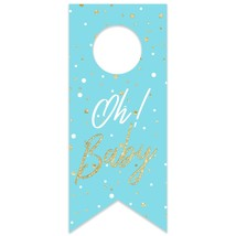 Oh Baby Blue Baby Shower Water Bottle Hang Tag - $26.24