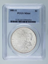 1881-S $1 Silver Morgan Dollar Graded by PCGS as MS64! Gorgeous Morgan! - $98.99