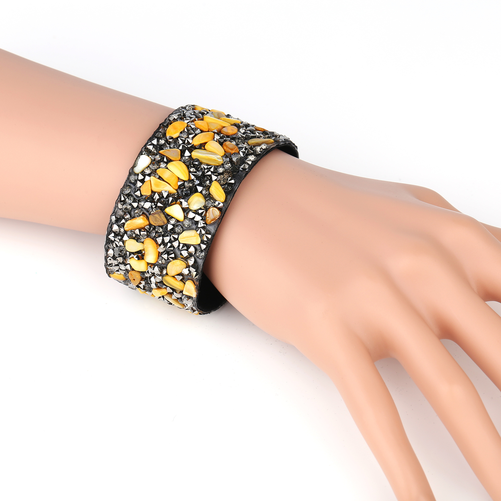 UNITED ELEGANCE Trendy Cuff Wristband With Stones & Swarovski Style Crystals