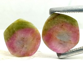 100% Natural Bio-Tourmaline Hand Polished Slice 9.40 Cts Pair Loose Gems... - $28.79