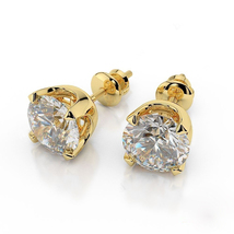 Women's Daily Wear Stud Earrings 14k Gold Plated 925 Silver Round Cut White CZ - $42.39