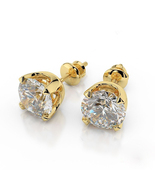Women's Daily Wear Stud Earrings 14k Gold Plated 925 Silver Round Cut Wh... - $42.39