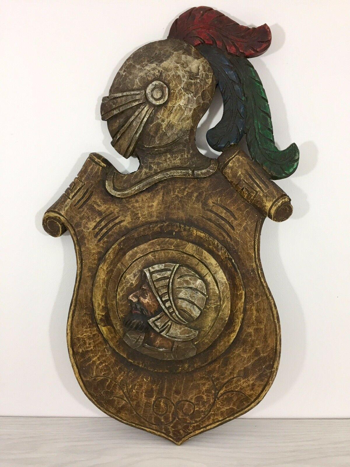 Antique 1900 German black forest carved wood shield medieval knight shop sign image 8