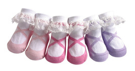 JazzyToes® Lacy Ballerina socks Gift Set of 3 Pair-Size 0-12 Months - $15.19