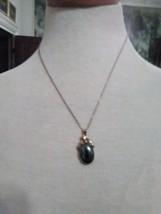 Vintage Necklace Italian Golden Fine Chain W/ Hematite Pendant - $35.00