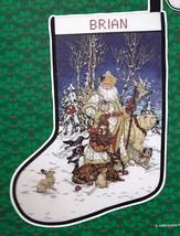 Candamar Arctic Animals Wildlife Santa Embellish Cross Stitch Stocking K... - $165.95