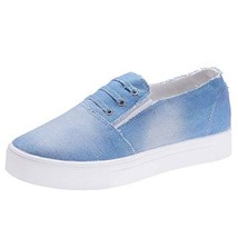 Women's Denim Sneakers Classic Basic Flats Shoes Slip-on Loafers 7.5 M US, Light - $39.49