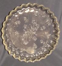 "Clear Glass Quiche Dish Anchor Hocking Savannah Impressed Floral Pattern 10"" - $17.95"