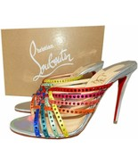 $1195 Christian Louboutin Marthastrass 100 Red Sole Slide Sandals Shoes ... - $499.99