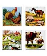 Farm Animals Ceramic Tile Art Set Of 4 Decorative Cow Rooster Ducks Tile... - $47.49