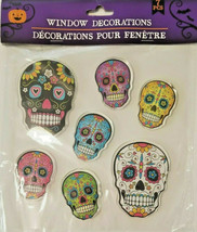 Halloween Gel Window Cling Stickers 7 Count ~ Day of the Dead Sugar Skul... - $5.99