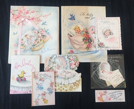 Set of 8 Vintage 40s illustrated Birth/Baby card art (Set C)