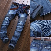 High Quality Ripped Jeans Men Fashion Patchwork Moto Jeans 2018 New Mens Pants S - $48.96