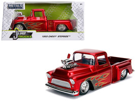 "1955 Chevrolet Stepside Pickup Truck with Blower Candy Red with Flames ""Just Tr - $34.30"