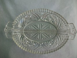 Cut Glass Divided Platter Tray VTG Crystal Clear Star of David Anchor Ho... - $14.84