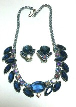 VINTAGE JULIANA RHINESTONE MIDNIGHT BLUE  & AURORA BOREALIS NECKLACE & E... - $125.00