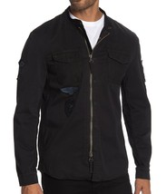 John Varvatos Star USA Men's Long Sleeve Rodes Patchwork Zip Shirt Jacket Black - $168.12
