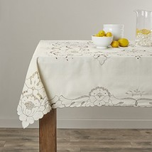 "Violet Linen Sapphire Embroidered Design Tablecloth, 60"" x 88"", Beige - $44.23"