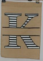 Kate Winston Brand Brown Burlap Monogram Black and White K Garden Flag image 1