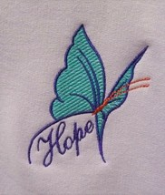 Purple/Turquoise Butterfly HOPE Crew L Orchid Sweatshirt Cancer Aware Un... - $25.45