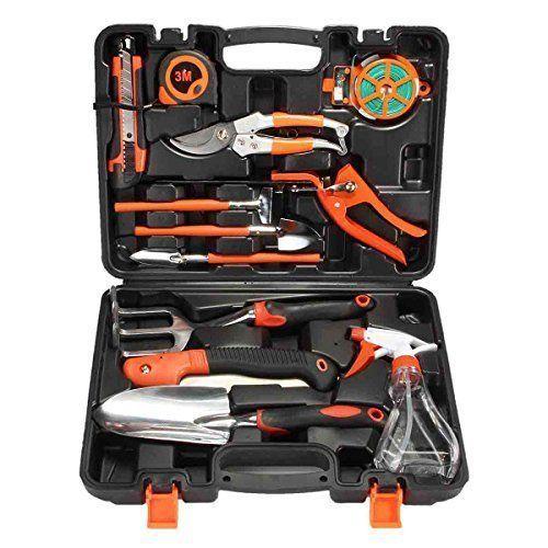 Garden tool set kit 12 pcs w case rake shovel sprayer for Gardening tools kit set