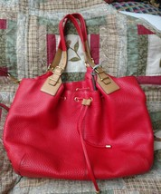 COACH Soft Legacy Pebbled Leather Drawstring XL HandBag 25307 Vermillion - $163.35