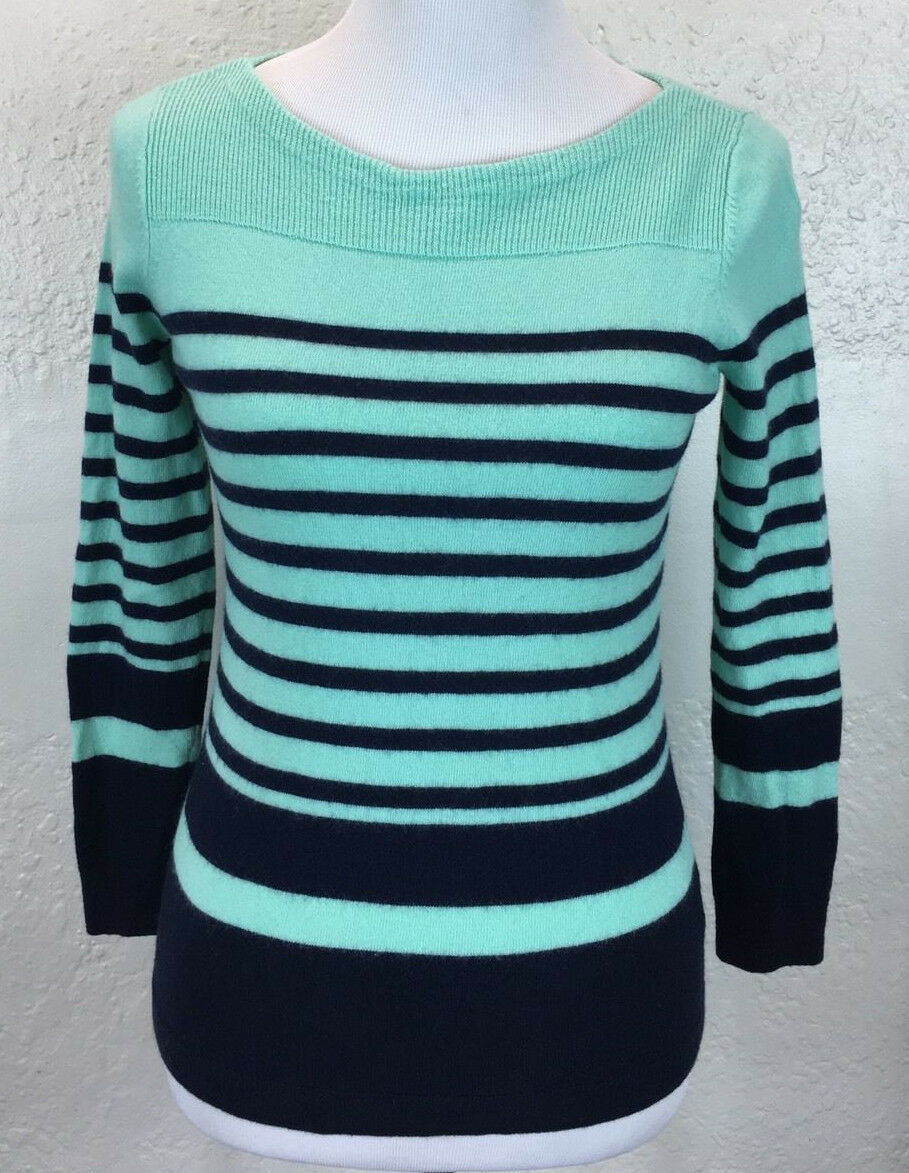 Primary image for #S15 Talbots Sz PM Petite M 100% Merino Wool Blue Stripe Boat Neck Sweater