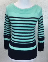 #S15 Talbots Sz PM Petite M 100% Merino Wool Blue Stripe Boat Neck Sweater - $19.79