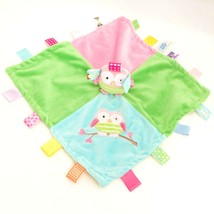 Taggies Mary Meyer Baby Owl Lovey Security Blanket Plush Green Blue Pink Blanky - $12.94