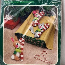 Vintage Bucilla Jeweled Felt Christmas Ornament Kit 3 Candy Cane Cuties ... - $32.33