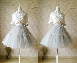 LIGHT GRAY Full Tulle Skirt Knee Length Ballerina Skirt Gray Skirt Plus Size NWT image 2