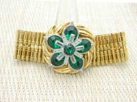 Green Clear Rhinestone Flower Statement Gold Tone Bracelet Art Deco Style - $42.07