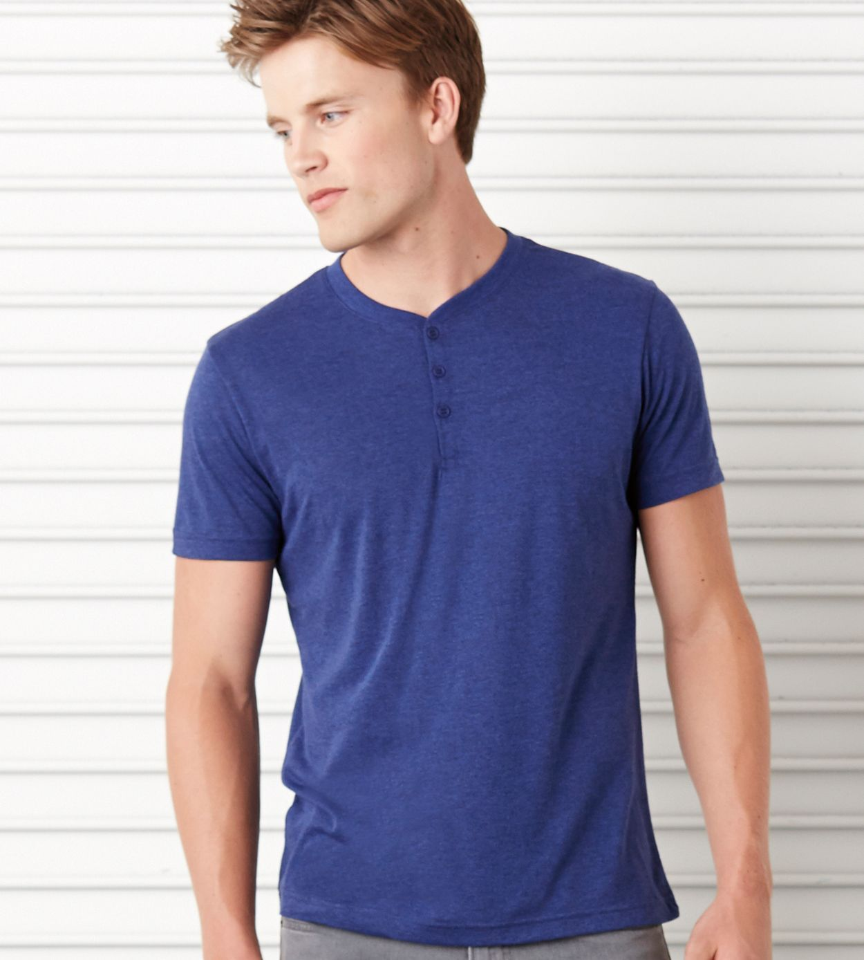 C3125 bella canvas mens triblend henley solid 3 button for Mens xl tall henley shirts