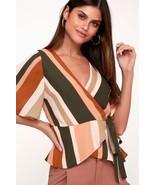 Demi Blush Multi Striped Wrap Peplum Chic Easy Elegance Classic Top XS - $35.00