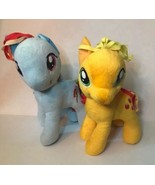 "Lot Of 2 My Little Pony 12"" Plush Rainbow Dash Apple Jack Stuffed Animal - $16.82"