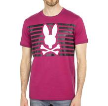 Men's Psycho Bunny Shirt Cullman Graphic Tee Pink Raspberry Striped Logo T-shirt