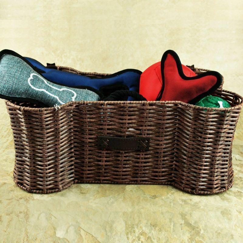 Pets Toy Storage Holder Woven Basket Dog Treats Leashes Blankets Organizer NEW