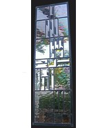 Stained Glass Window Panel clear transom sidelight bevel clear iridescence - $200.00