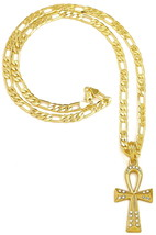 Ankh Neuf Égyptien Pendentif Collier avec Strass Sur 61cm Long Chaîne Fi... - $17.33