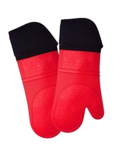 Extra Long Professional Silicone Oven Mitt - 1 Pair - Oven Mitts with Qu... - $24.00