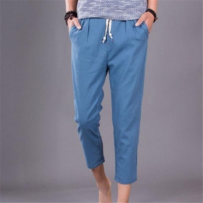 The new summer mens pants men loose linen pants casual pants image 9