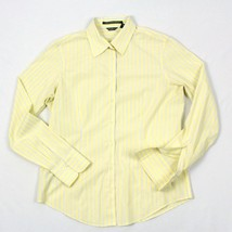 Eddie Bauer Button Up Blouse Size M Striped Yellow Stretch Wrinkle Resistant Top - $22.58