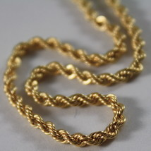 18K YELLOW GOLD CHAIN NECKLACE, BRAID ROPE LINK 15.75 INCHES, MADE IN ITALY image 2